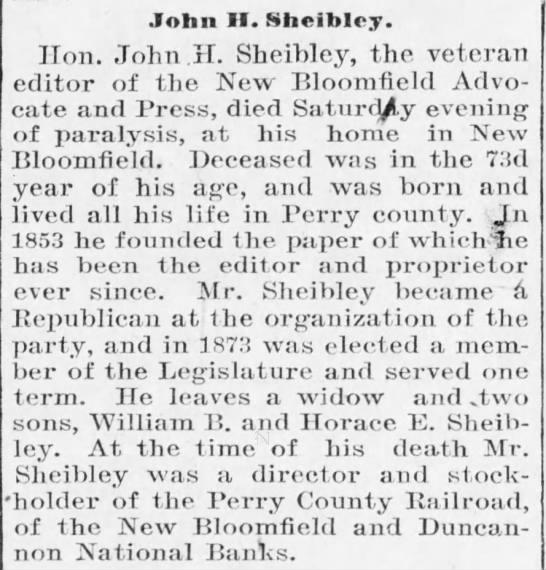 John H Sheibley Obit in Harrisburg Telegraph, Harrisburg, Pennsylvania, 3 December 1900 -
