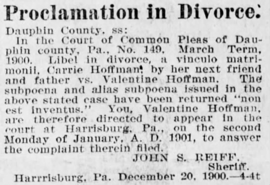 Proclamation in Divorce - Valentine & Carrie Hoffman - Dec 27 1900 -