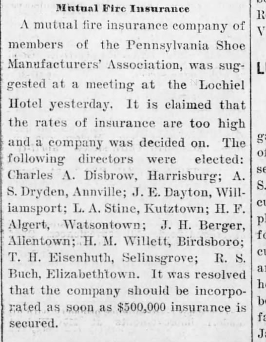 Mutual Fire Insurance, Harrisburg Telegraph, 17 April, 1903, p. 2. -