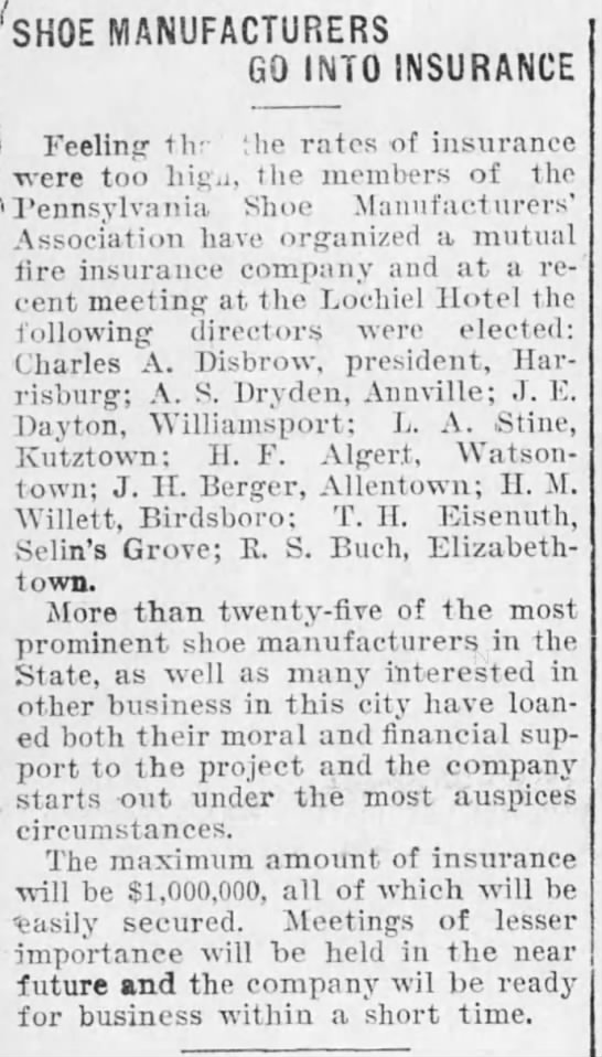 Shoe Manuf. Go Into Insurance, Harrisburg Telegraph, 18 April, 1903, p. 1 -