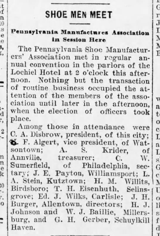 Shoe Men Meet, Harrisburg Telegraph, 12 November, 1903, p. 9. -