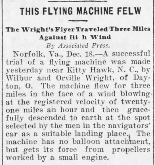 This flying machine flew. -
