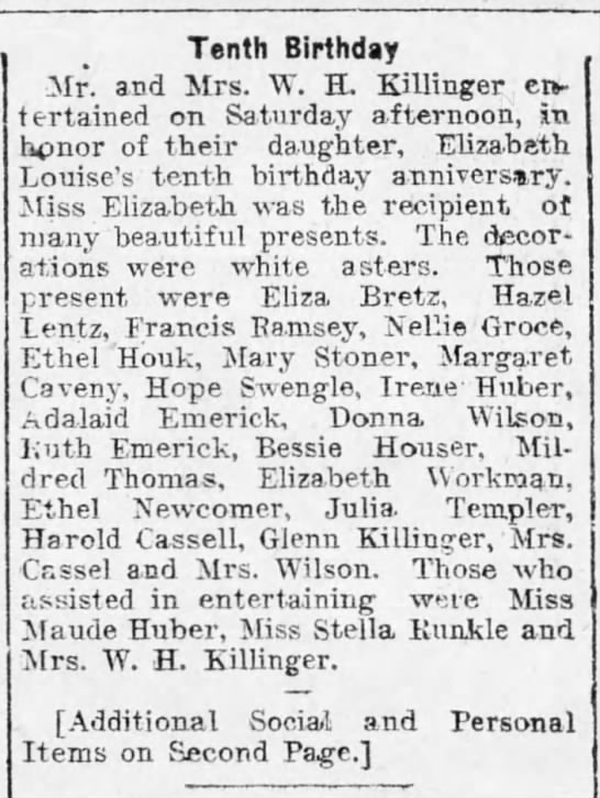 1904 Eliza Bretz guests at 10th bday party for Elizabeth Louise Killinger -