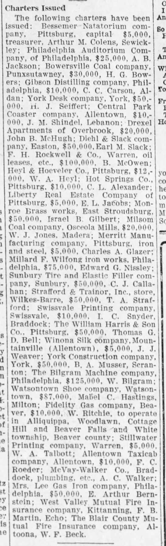 Mabel Hastings chartered shoe company, Harrisburg Telegraph, 27 May, 1909, p. 6