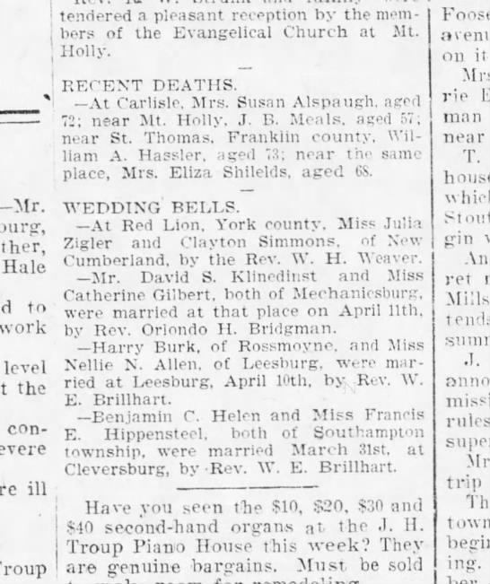 1902 April 15 Harrisburg Telegraph - 1 tendered a pleasant reception by the mem -...