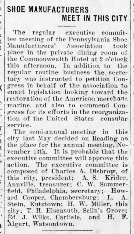 Shoe Manufacturers Meet, Harrisburg Telegraph, 10 Oct. 1902, p. 7. -
