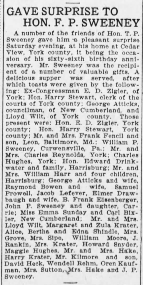 1907 LLoyd Wilt York Co and MM Lloyd Wilt surprise his Hon Sweeney -