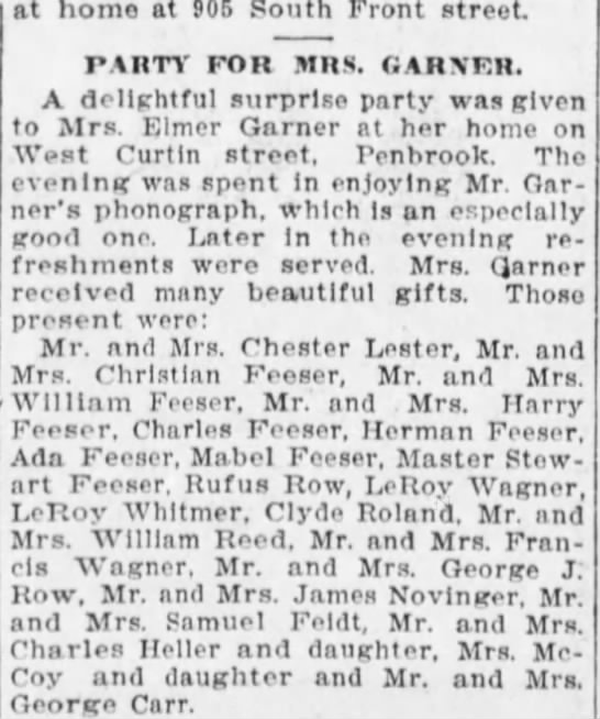 1907 Feesers LOTS attend party for Mrs Elmer Garner -