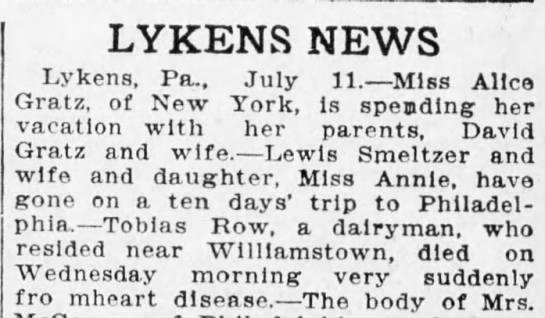 Lykens News-Tobias Row death announcement -