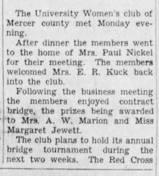 18 Jan 1942 , University Womens Club -
