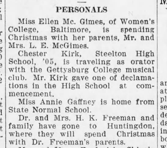 Chester Kirk traveling w/ Gettysburg College23 Dec 1905 -