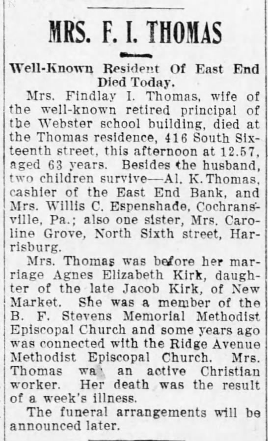 Agnes Thomas Obituary
