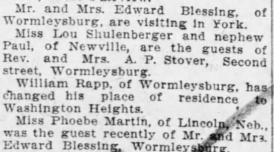 Phoebe Martin & Blessin Family - Harrisburg Telegraph - October 29 1908 -