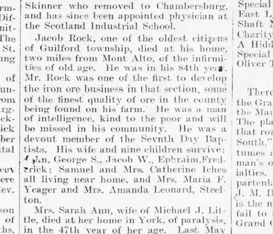 1900 February 12 Jacob Rock Harrisburg Telegraph -