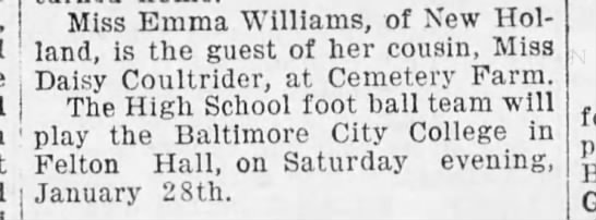 Emma Williams cousin of Daisy Coultrider 24 Jan. 1905 