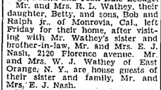 Ralph L Wathey and family -