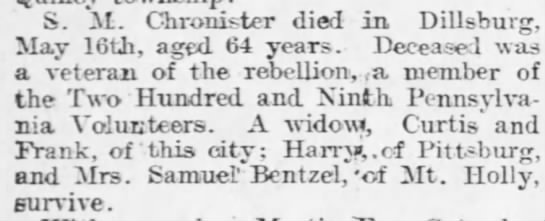 Searight M Chronister_Harrisburg Telegraph_23 May 1900 -