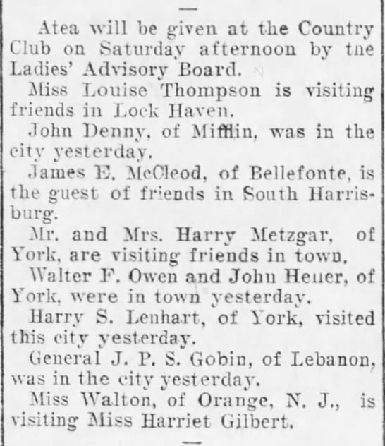 1904 Miss Louise Thompson visits friends in Lock Haven -