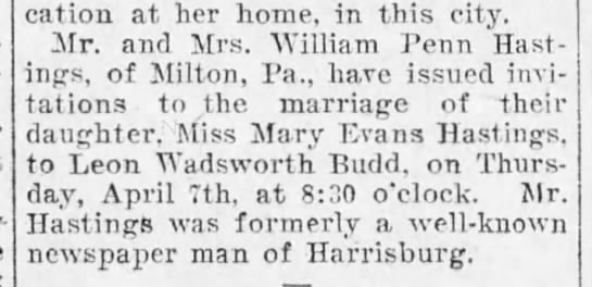 Hastings-Budd wedding, Harrisburg Telegraph, 26 March, 1904, p. 6 -