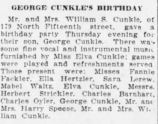 Cunkle birthday partyGeorge and William -