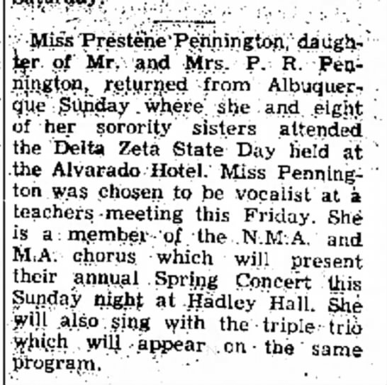 Prestene Pennington chosen as vocalist 1964. -