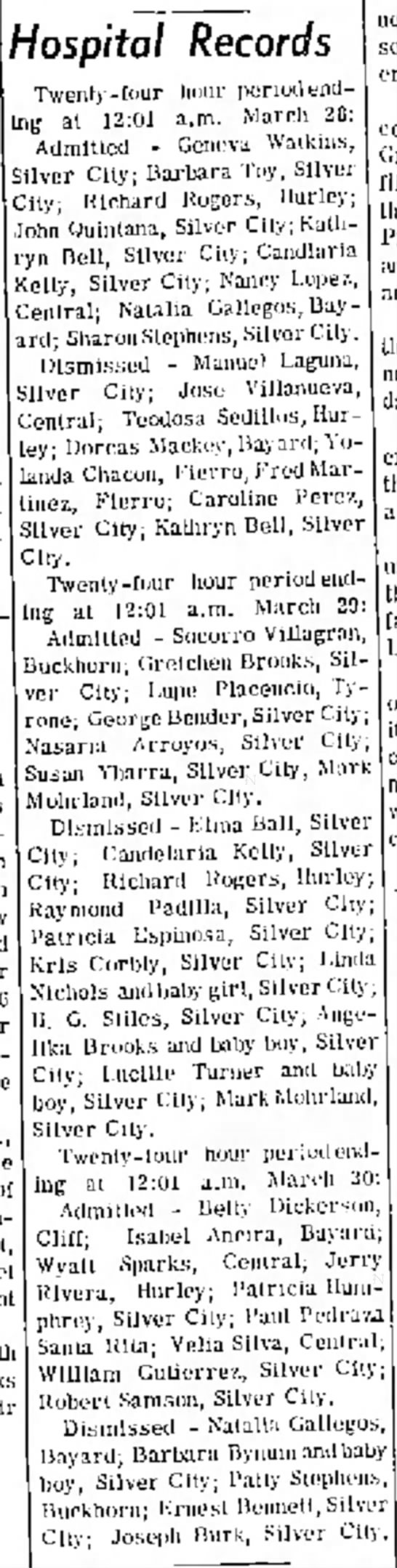 Hospital Records; Elma Ball listed, Silver City Daily Press, Silver City, New Mexico, March 1970 -