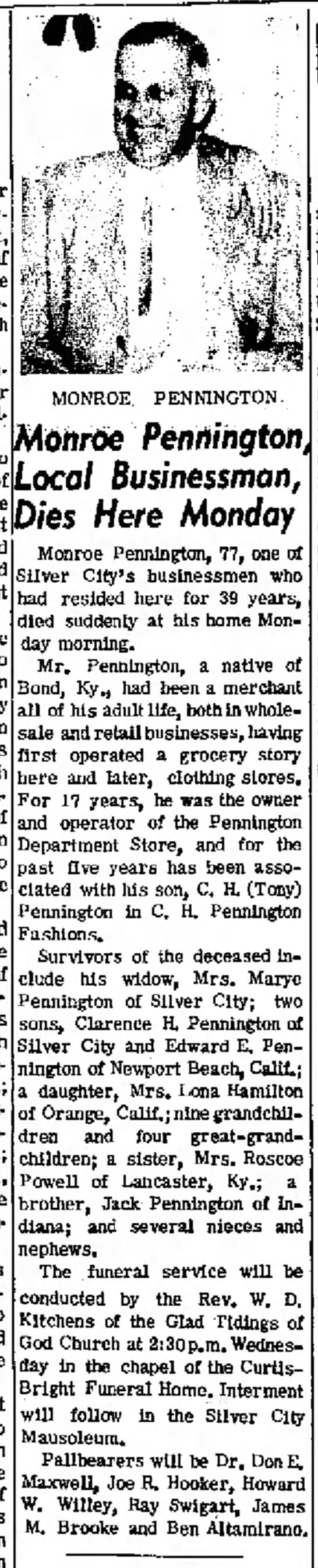 Monroe Pennington, obit in Silver City Daily Press, 1 June 1971 -
