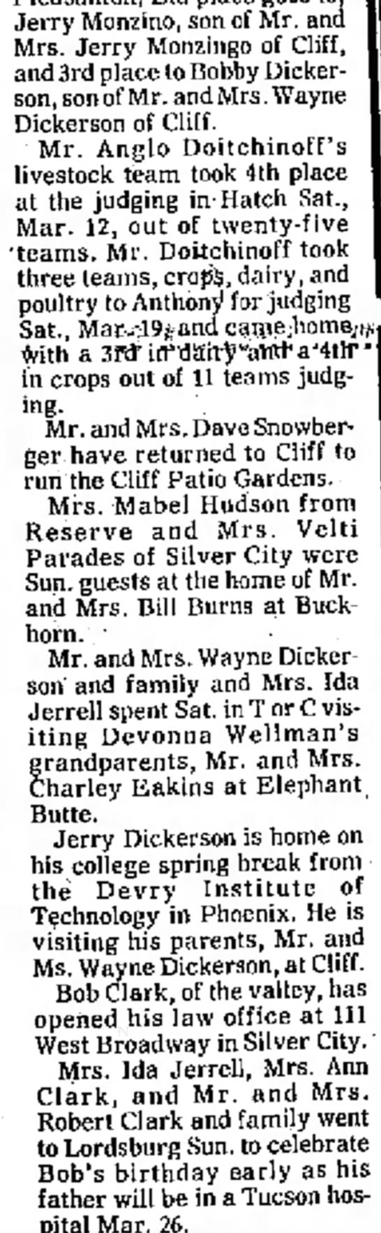 Dickerson mention in article, March 1977 -