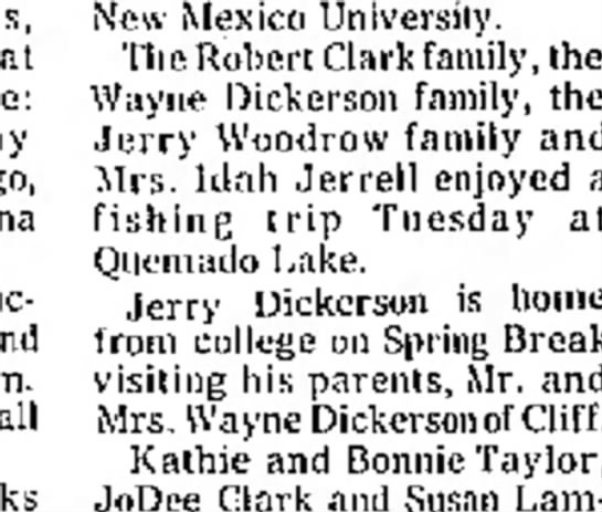 Dickerson family activity mentioned June 1977 -