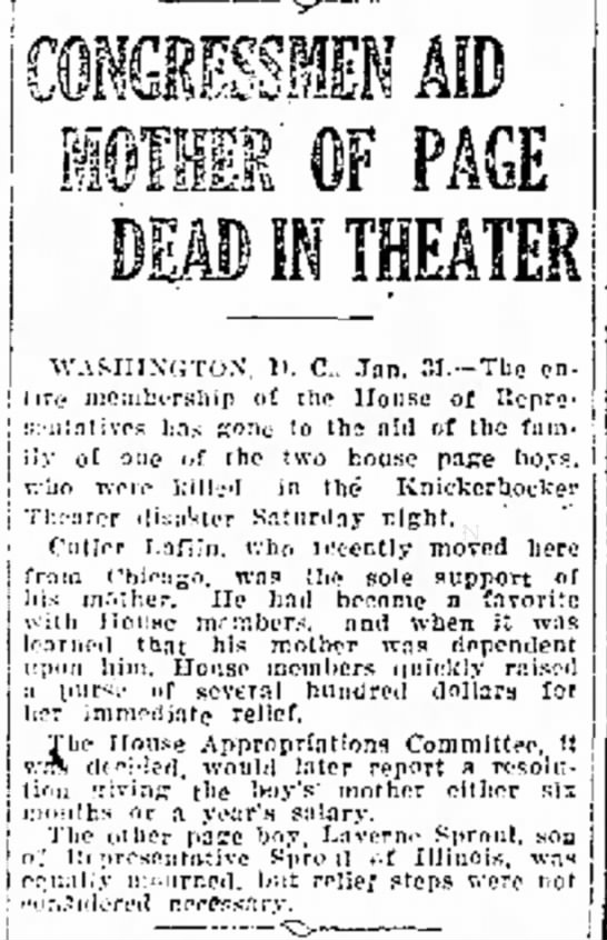Congressmen aid mother of Page Dead in Theater -