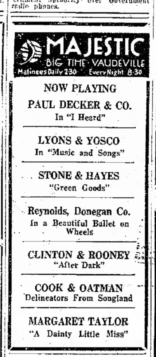 One of the last advertised performances of Lyons and Yosco. -