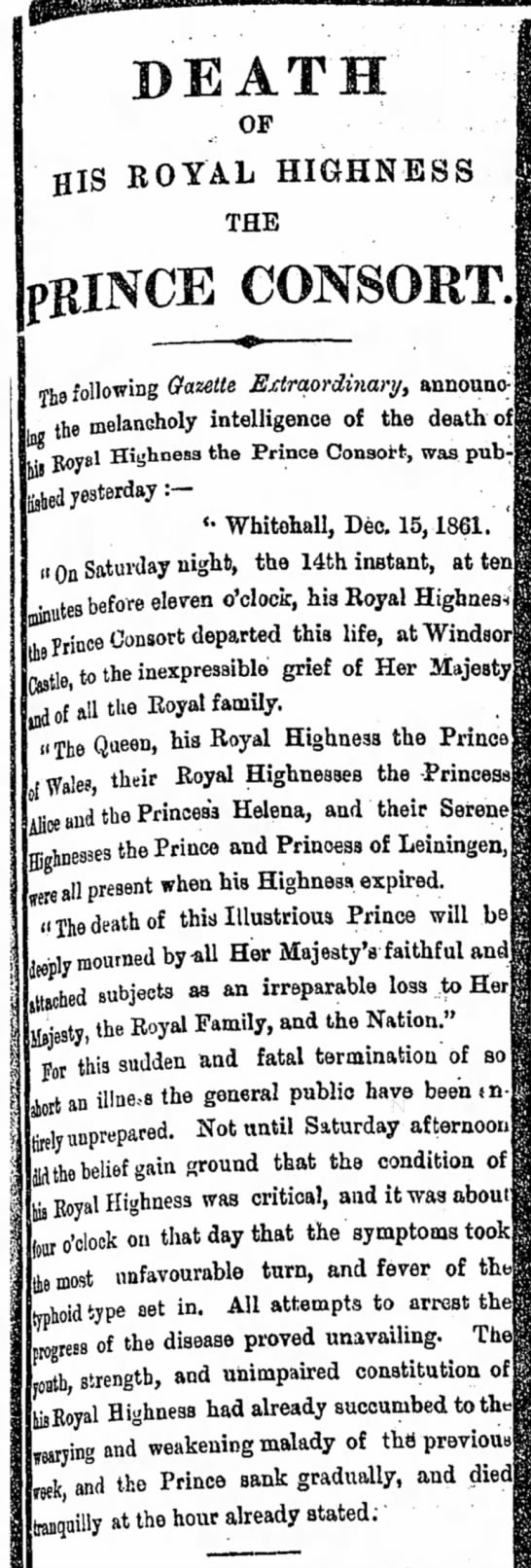 Death of Prince Albert -