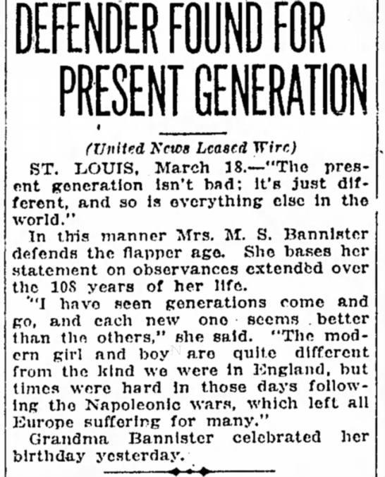 Miriam Bannister's opinion (1925). -