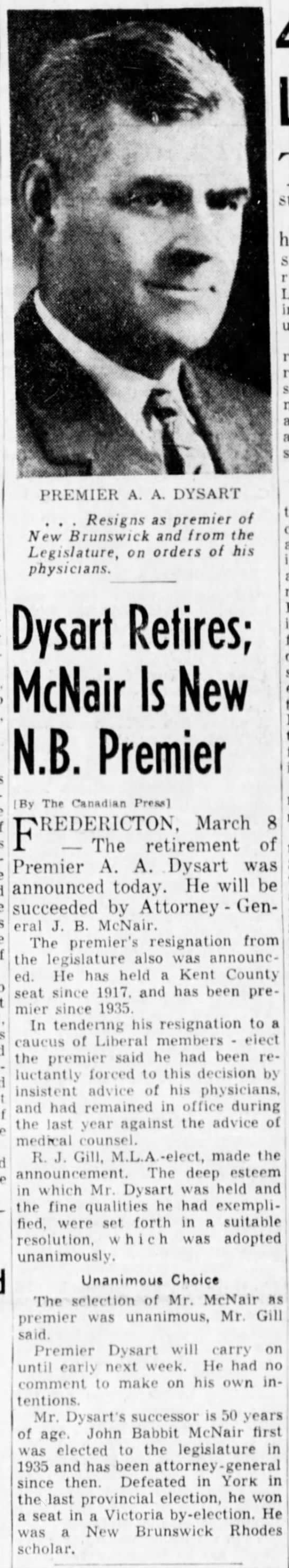 Dysart Retires; McNair Is New N.B. Premier -