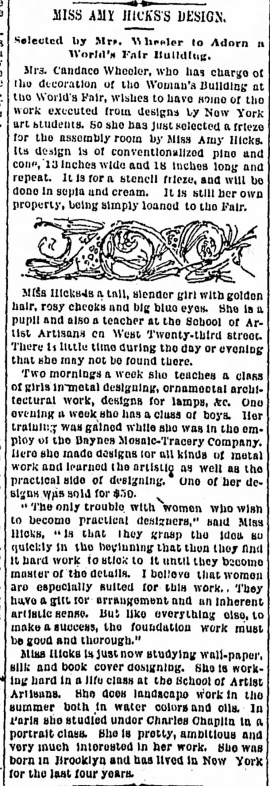 Miss Amy Hick's Design. The World (New York, New York) 8 April 1893, p 8 -