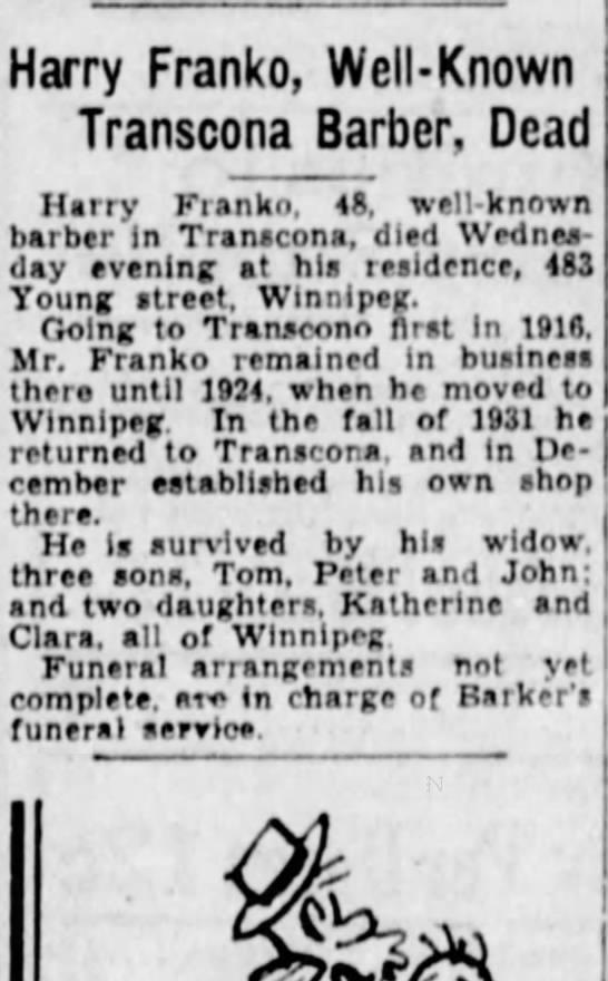 Harry Franko Barber Obit The Winnipeg Tribune (Winnipeg, Manitoba, Canada)8 April 1932Page 3  -