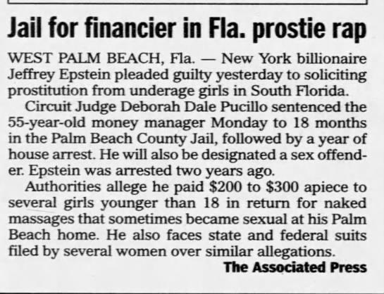 Jail for financier - Jeffrey Epstein -