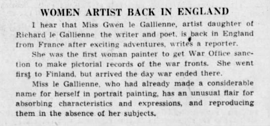 Woman Artist Back in England. The Winnipeg Tribune (Winnipeg, Manitoba, Canada) 3 August 1940, p 12 -