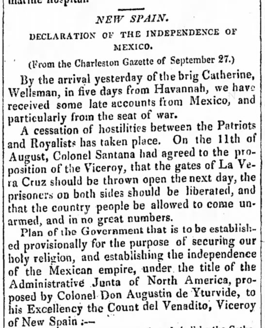 Mexico declares independence from Spain -