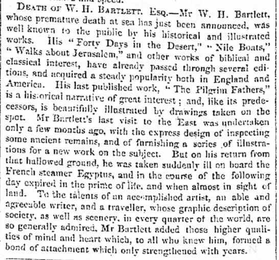 Death of William Henry Bartlett (26 March 1809 – 13 September 1854) -