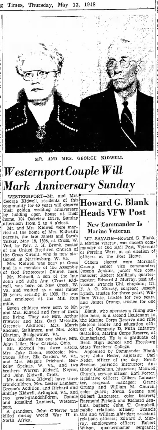 - Times, Thursday, May 13, 1948 WesternportCouple...