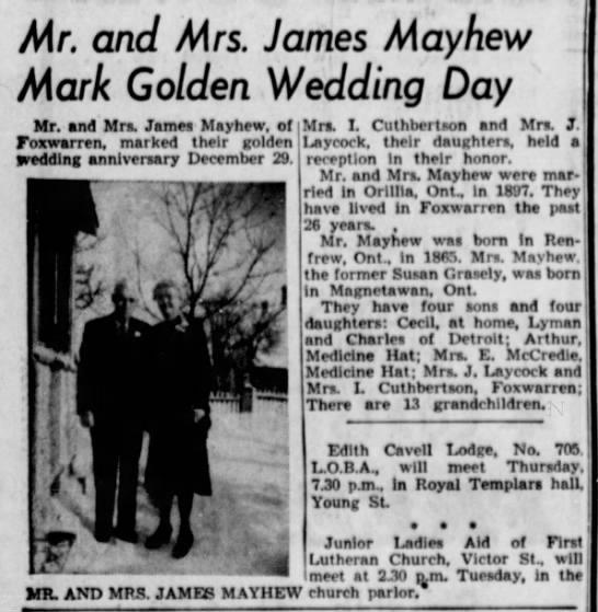 Mr. and Mrs. James Mayhew Mark Golden Wedding Day -
