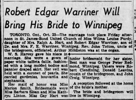 Robert Warriner Wilma Purdy wed - Robert Edgar Warriner Will Bring His Bride to...