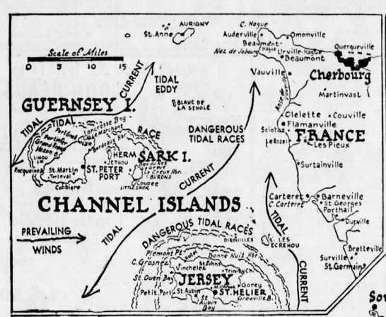 Channel Islands map, 1944 -