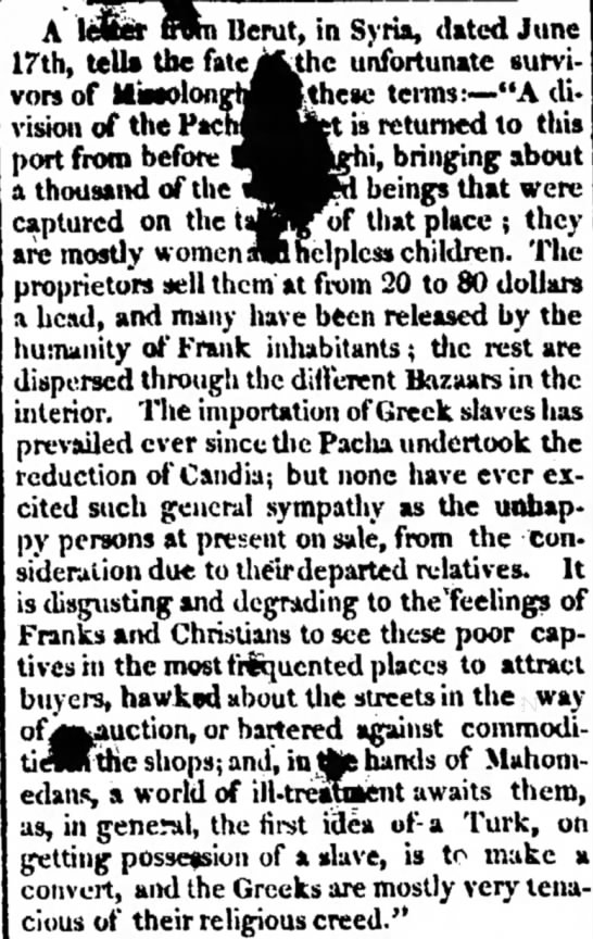 description of Greek slaves in Syria -