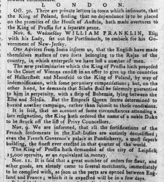 Gov Wm Franklin departs London for Portsmouth to embark for NJ - 6 Nov 1762, rpt'd 27 Jan 1763 -