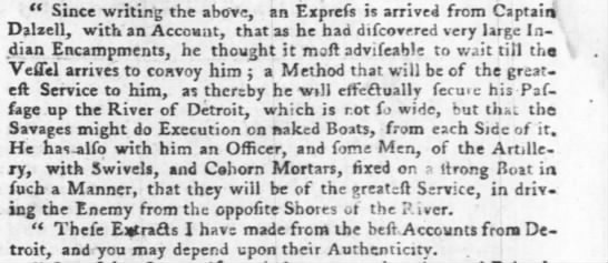 1763 Gun Boat at Detroit with Cohorns - ( Since writing the above, an Exprefs is...