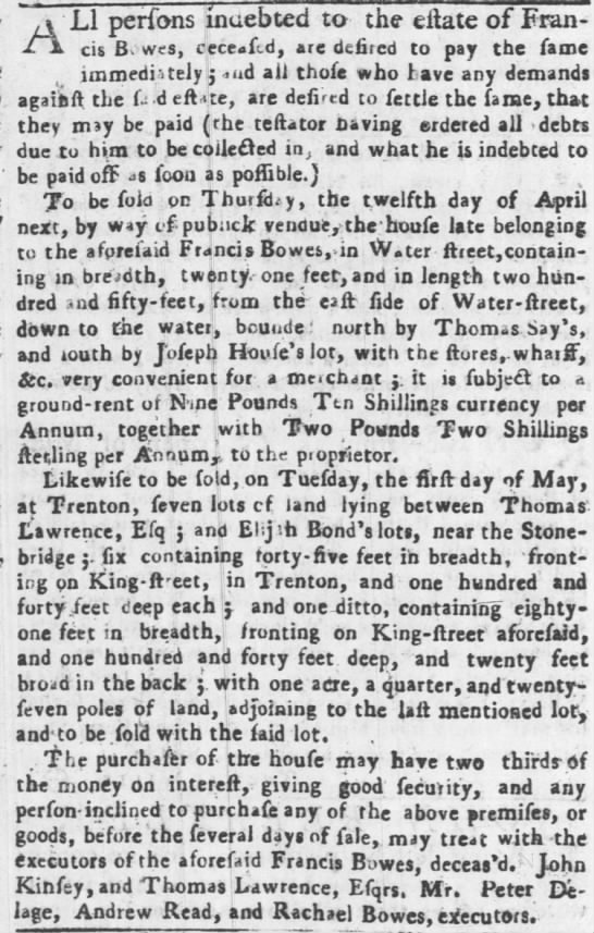 Estate of Francis Bowes in Philadelphia and Trenton_1750 -