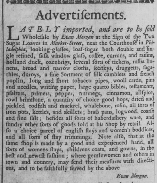 1734 advertisement listing nutmeg, cinnamon, and allspice for sale -