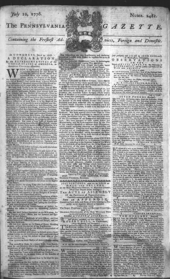 July 1776 Declaration of Independence newspaper article. - TMalmay -